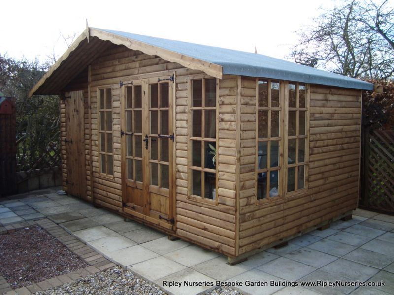 Petersham 16x10 bespoke combined Shed, Log-Lap Cladding, Heavy Torch-On Roofing Felt.