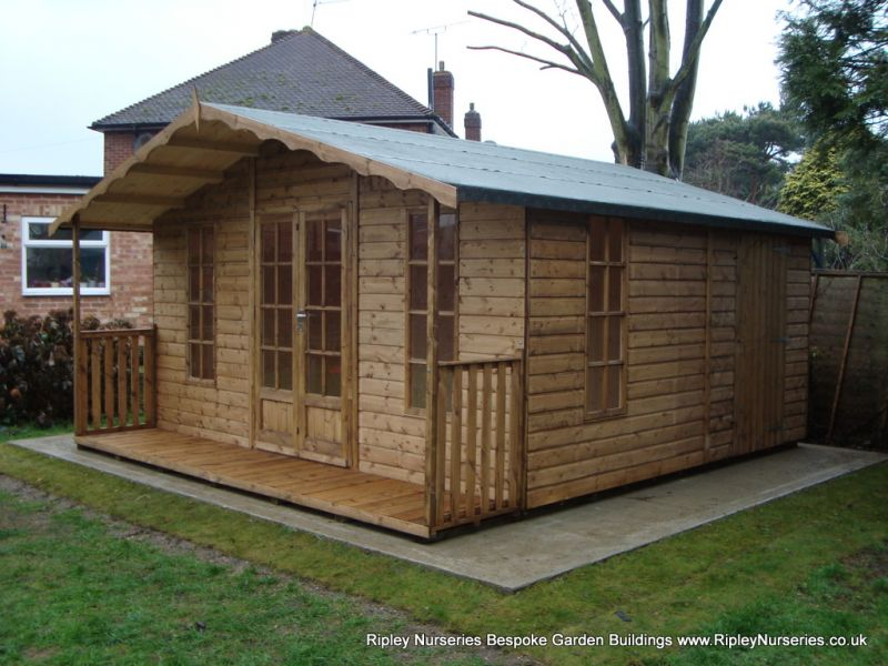 Petersham Bespoke 14x16 Summerhouse with Partitioned Shed Compartment and 2'6'' Verandah.