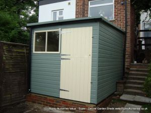 Deluxe Pent 7x11 Lean-To, Stable Door, Painted Finish, Guttering.