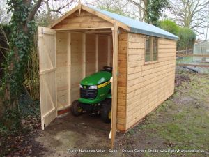 Deluxe Apex Tractor Shed 11x6, Double Doors, No Floor & Brick Base.