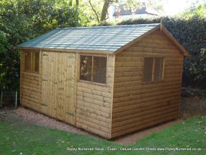 Deluxe Apex 14x10, Extra Height, Double doors, Green Felt Tiled Roof.