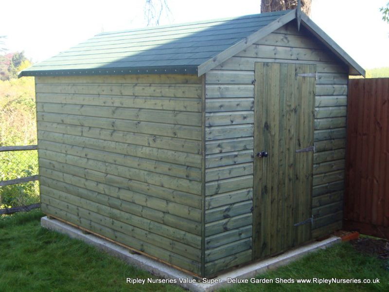Deluxe Apex 10x7, Felt Tiled Roof, Rimlock with Handle and Customers own Green Stain.