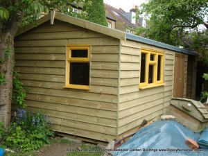Heavy Duty Workshop 22x10, Featheredge Cladding, Joinery Windows and Open Fronted Storage Area.