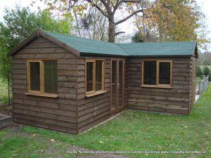 Heavy Duty Workshop 22x20, 'L' Shaped with Felt Tiled Roof, French Doors and Joinery Windows.